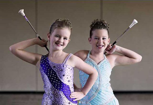 Calendrier Competition Twirling Baton 2022 Two North Hall twirlers competing in Junior Olympics   Gainesville