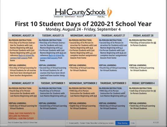 Hall schools schedule